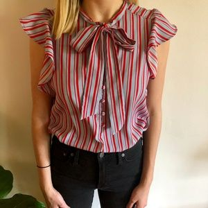 Abercrombie & Fitch Blue and Red Striped Blouse